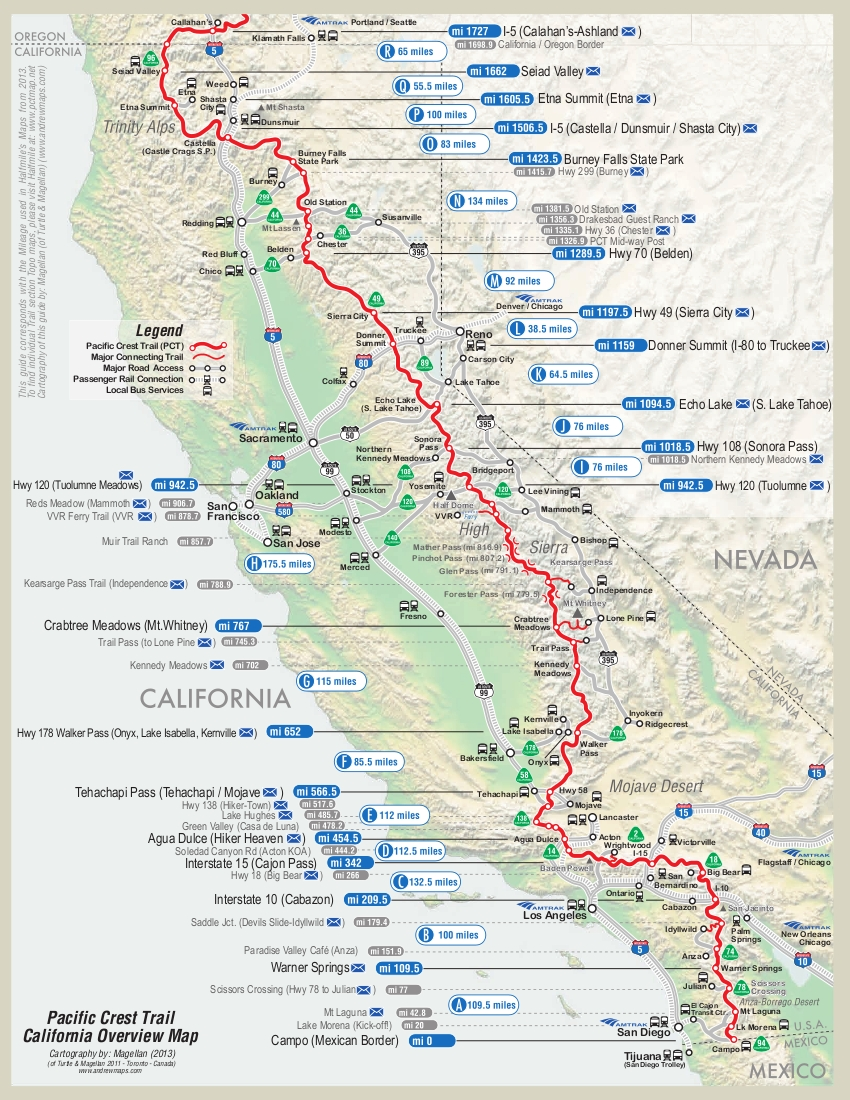 . map of first half of pct  dean's pacific crest trail hike